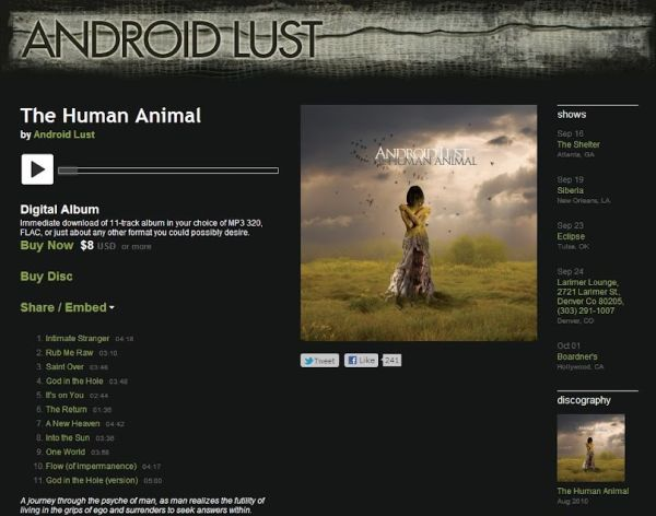 Bandcamp: Android Lust; esimerkkisivu