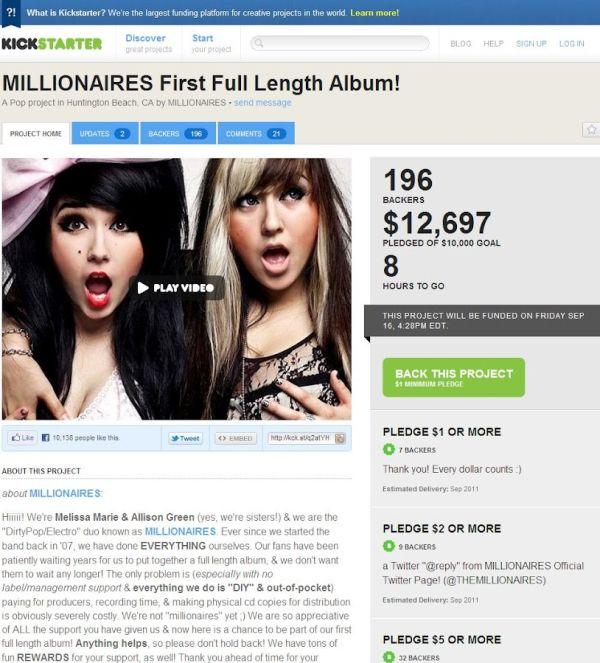 Kickstarter: Millionaires; esimerkkisivu