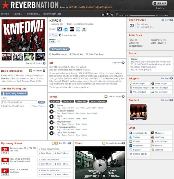 ReverbNation: KMFDM; esimerkkisivu