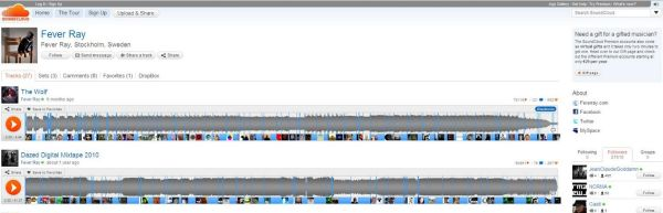 Soundcloud: Fever Rey; esimerkkisivu