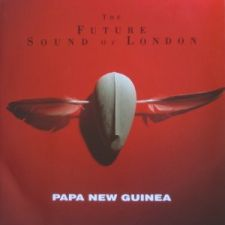 Future Sound of London: Papua New Guinea - typotetun Belgia-painoksen kansi (1992)