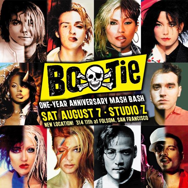 Bootie -mash-up-klubin yksivuotisbileiden juliste isona