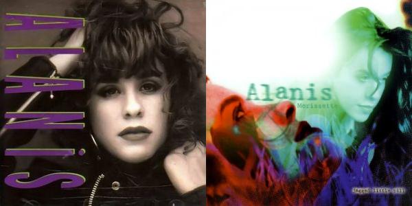 "Alanis Morissetten debyytti Alanis (1991) ja ""debyytti"" Jagged Little Pill (1995)"