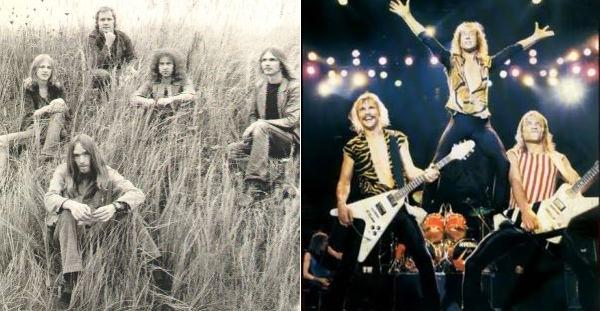 Scorpions hippeinä (vas.) ja nahkahousuhevareina (oik.)