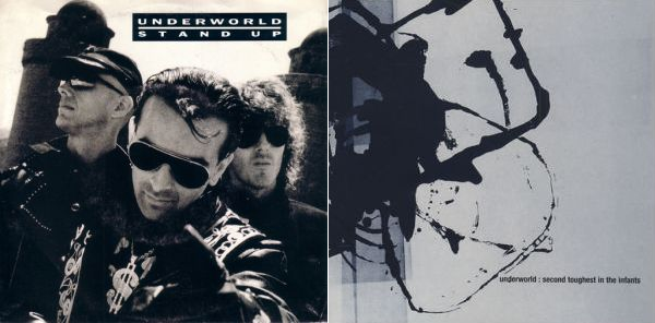 Underworldin kansitaidetta vuosilta 1989 (Stand Up -single) ja 1996 (Second Toughest in the Infants -albumi)