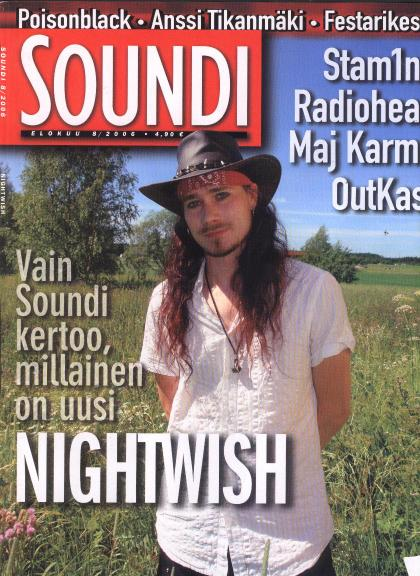 Arkkityyppinen Soundi-lehden kansi 2000-luvulta: Nightwish-eksklusiivi (8/2006)