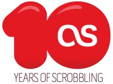 10 years of scrobbling -logo vuodelta 2012 kun palvelu täytti vuosikymmenen