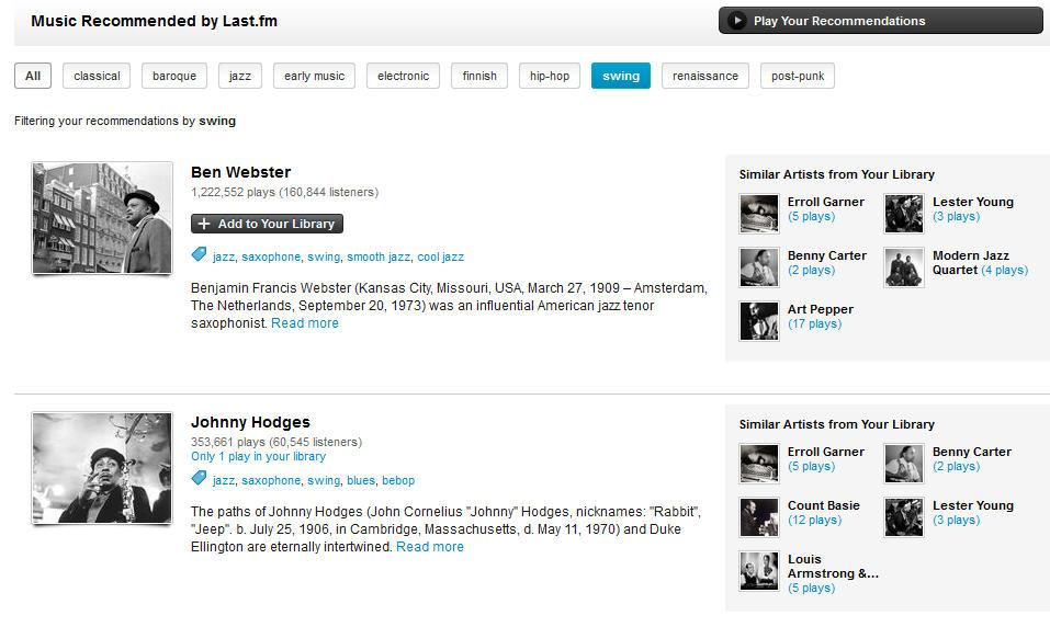 Last.fm:n suosituksia swing-tagilla filtteröitynä. Kuvankaappaus Dashboardiltani.