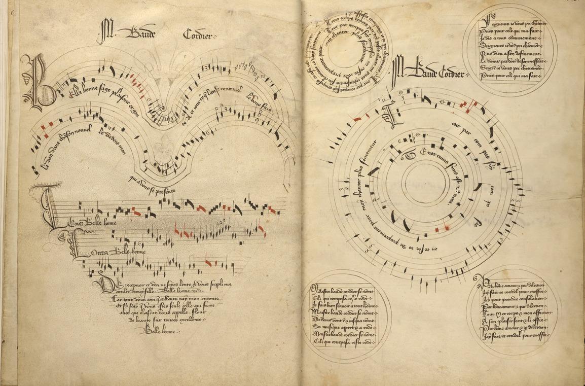 Codex Chantillyn kuuluisin aukeama: kaksi Baude Cordierin sävellystä graafisena notaationa