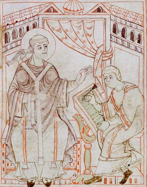 Paavi Gregorius I kuuntelee kyyhkyä (Pyhää Henkeä) ja välittää kirkkolaulut kirjurille.